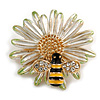 Crystal Bee and Flower Brooch In Gold Tone (Black/ Yellow/ White) - 35mm Diameter