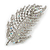 Statement Clear/ Ab Crystal Leaf Brooch In Silver Tone - 70mm Long
