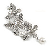Clear Crystal, White Faux Pearl Triple Butterfly Brooch In Silver Tone - 55mm L