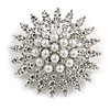 Bridal/ Prom/ Wedding Faux Pearl Crystal Corsage Brooch In Silver Tone - 50mm D