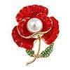 Bright Red Enamel, Faux Pearl, Green Crystal Poppy Brooch In Gold Tone - 45mm Long