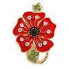 Bright Red Enamel Clear/ Green/ Black Crystal Poppy Brooch In Gold Tone Metal - 50mm Long