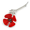 Bright Red Enamel Poppy Brooch In Silver Tone Metal - 75mm Long