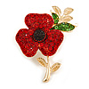Red/ Green Crystal Poppy Brooch In Gold Tone Metal - 55mm Long