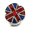 British Flag on Flower Small Enamel Red Crystal Brooch in Silver Tone - 30mm Long