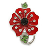 Bright Red Enamel Clear/ Green Crystal Poppy Brooch In Silver Tone Metal - 50mm Long