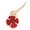 Bright Red Enamel Poppy Brooch In Gold Tone Metal - 75mm Long
