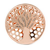 Clear Crystal Tree Of Life Round Magnetic Brooch In Rose Gold Tone - 50mm D