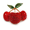 Red Crystal, Enamel Cherry Brooch In Gold Tone - 40mm Across