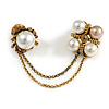 Statement Pearl Crystal Double Flower Chain Brooch In Aged Gold Tone Metal Finish