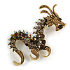 Huge Ornate Topaz/ Citrine/ Grey/ Black Crystal Chinese Dragon Brooch in Aged Gold Tone - 100mm Tall