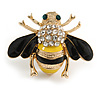 Small Black/ Yellow Enamel Clear Crystal Bee Brooch In Gold Tone - 30mm Across
