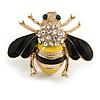 Small Black/ Yellow Enamel Clear Crystal Bee Brooch In Gold Tone - 30mm Across