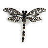 Vintage Inspired Grey Crystal Filigree Dragonfly Brooch with Dangling Tail In Silver Tone - 60mm Wide