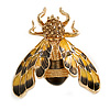 Yellow/ Black Enamel Crystal Moth Brooch In Gold Tone - 35mm Long