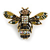 Vintage Inspired Crystal, Enamel Bee Brooch In Gold Tone - 43mm Across