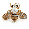 Stunning Clear/ Black Crystal White Glass Pearl Bead Bee In Gold Tone - 40mm Wide
