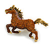 Statement Topaz Coloured Crystal Horse Brooch In Aged Gold Tone Metal - 75mm Across