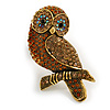 Vintage Inspired Topaz Crystal Owl Brooch In Aged Gold Tone - 70mm Long