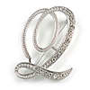 'Q' Rhodium Plated Clear Crystal Letter Q Alphabet Initial Brooch Personalised Jewellery Gift - 45mm Tall