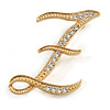 'Z' Gold Plated Clear Crystal Letter Z Alphabet Initial Brooch Personalised Jewellery Gift - 40mm Tall