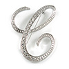 'C' Rhodium Plated Clear Crystal Letter C Alphabet Initial Brooch Personalised Jewellery Gift - 50mm Tall