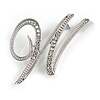 'W' Rhodium Plated Clear Crystal Letter W Alphabet Initial Brooch Personalised Jewellery Gift - 35mm Tall