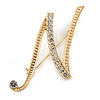 'N' Gold Plated Clear Crystal Letter N Alphabet Initial Brooch Personalised Jewellery Gift - 40mm Tall