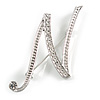 'N' Rhodium Plated Clear Crystal Letter N Alphabet Initial Brooch Personalised Jewellery Gift - 40mm Tall