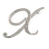 'X' Rhodium Plated Clear Crystal Letter X Alphabet Initial Brooch Personalised Jewellery Gift - 30mm Tall