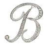 'B' Rhodium Plated Clear Crystal Letter B Alphabet Initial Brooch Personalised Jewellery Gift - 45mm Tall