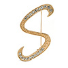 'S' Gold Plated Clear Crystal Letter S Alphabet Initial Brooch Personalised Jewellery Gift - 45mm Tall