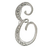 'E' Rhodium Plated Clear Crystal Letter E Alphabet Initial Brooch Personalised Jewellery Gift - 50mm Tall