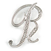 'R' Rhodium Plated Clear Crystal Letter R Alphabet Initial Brooch Personalised Jewellery Gift - 45mm Tall