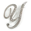 'Y' Rhodium Plated Clear Crystal Letter Y Alphabet Initial Brooch Personalised Jewellery Gift - 50mm Tall