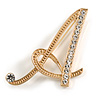 'A' Gold Plated Clear Crystal Letter A Alphabet Initial Brooch Personalised Jewellery Gift - 45mm Tall