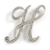 'H' Rhodium Plated Clear Crystal Letter H Alphabet Initial Brooch Personalised Jewellery Gift - 43mm Tall