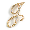 'J' Gold Plated Clear Crystal Letter J Alphabet Initial Brooch Personalised Jewellery Gift - 45mm Tall