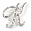 'K' Rhodium Plated Clear Crystal Letter K Alphabet Initial Brooch Personalised Jewellery Gift - 50mm Tall
