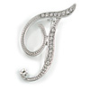 'T' Rhodium Plated Clear Crystal Letter T Alphabet Initial Brooch Personalised Jewellery Gift - 40mm Tall
