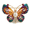 Multicoloured Enamel Crystal with Faux Pearl Butterfly Brooch In Gold Tone - 53mm Across