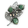 Vintage Inspired AB Crystal Jade Semiprecious Stone Floral Brooch/ Pendant In Pewter Tone Metal - 63mm Long