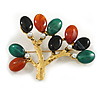 Vintage Inspired Semiprecious Agate Stone, Faux Pearl Tree Brooch In Aged Gold Tone - 65mm Across