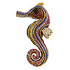 Oversized Multicoloured Crystal Seahorse Brooch/ Pendant in Aged Gold Tone Metal - 90mm Tall