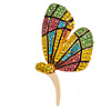 Green/ Lemon Yellow/ Pink/ Light Blue Crystal Butterfly Brooch In Gold Tone - 55mm Tall