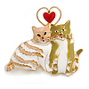 'Cat's Love' Romantic Enamel Brooch In Gold Tone (Cream/ White/ Olive) - 40mm Across