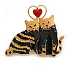 'Cat's Love' Romantic Enamel Brooch In Gold Tone (Cream/ Black) - 40mm Across