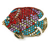 Statement Crystal Fish Brooch In Gold Tone (Red/ Lavender/ Light Blue/ AB) - 47mm Across