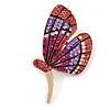 Fuchsia/ Pink/ Lavender Crystal Butterfly Brooch In Gold Tone - 55mm Tall