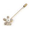 Gold Tone Clear Crystal White Pearl Daisy Flower Lapel, Hat, Suit, Tuxedo, Collar, Scarf, Coat Stick Brooch Pin - 60mm L
